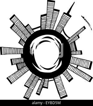 Vector illustration. City on the sphere. Black outline sketch - Stock Photo