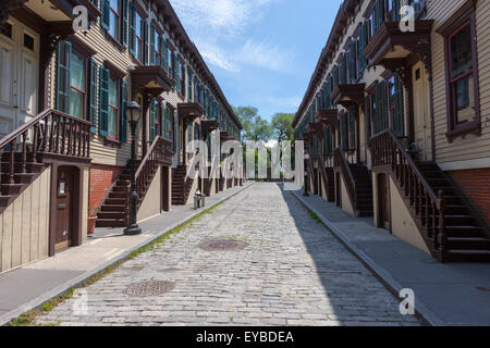 The historic Sylvan Terrace rowhouses in the Jumel Terrace Historic District in Washington Heights, Manhattan, New - Stock Photo