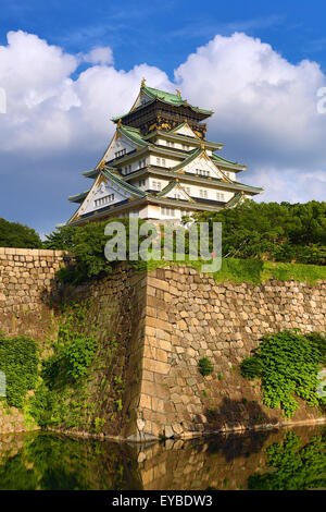 Osaka Castle and ramparts, Osaka, Japan - Stock Photo