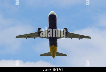 Monarch Airlines Airbus A320-214 Plane taking off from Manchester Airport G-ZBAH - Stock Photo