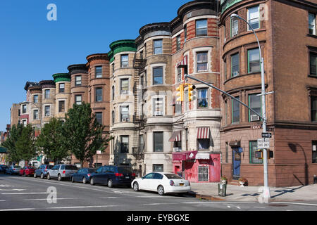 Renaissance Revival rowhouses at 757-775 St. Nicholas Avenue in the Sugar Hill section of Harlem in New York City. - Stock Photo