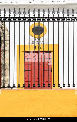 Detail of the outside of Seville Bullring, Seville, Andalucia, Spain, Europe. - Stock Photo