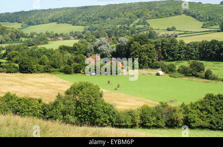 An English Rural Landscape in the Chiltern Hills in the Hambleden valley - Stock Photo