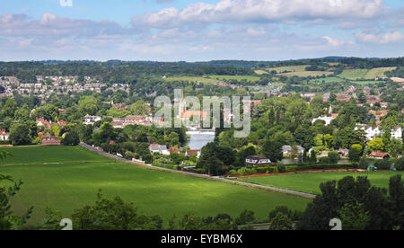 An English Landscape with the riverside of town of Marlow on Thames - Stock Photo