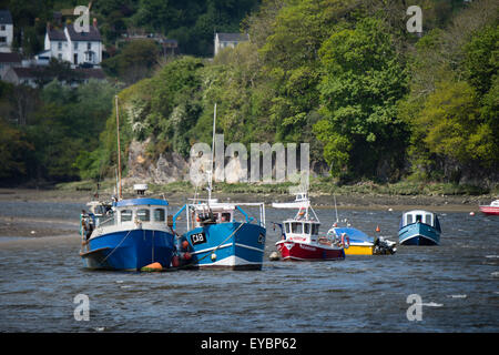 Inshore Fishing Boats moored at anchor on the river Teifi, Cardigan Wales UK - Stock Photo