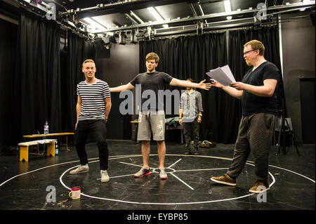 Professional actors in rehearsals   for a production of 'To Kill a Machine' based on the life of Alan Turing - Stock Photo
