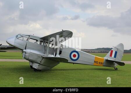RAF De Havilland DH89A Dragon Rapide Transport Aircraft HG691 Parked at Duxford Aerodrome IWM England UK - Stock Photo