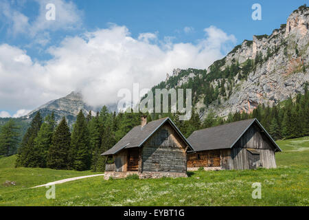 Alpine cabins, Wurzeralm, Austria - Stock Photo