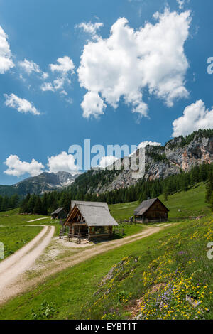 Alpine cabins at Wurzeralm, Austria - Stock Photo