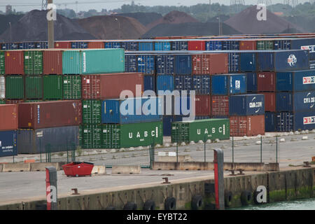 Containers at the port of Dunkirk. France - Stock Photo