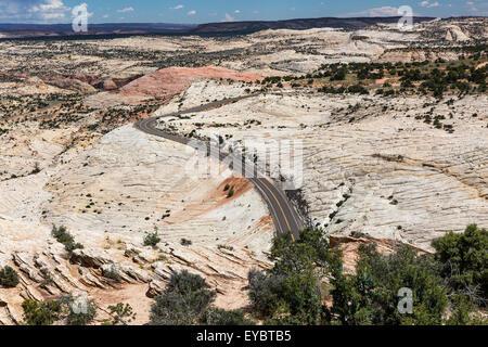 Road through The Grand Staircase-Escalante National Monument, Utah - Stock Photo