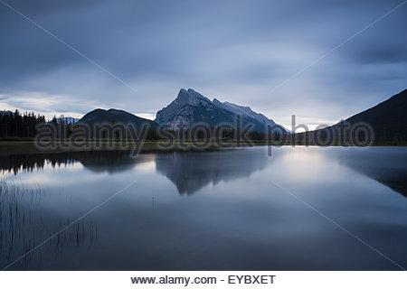 Stormy Evening at Vermillion Lakes, Banff National Park, Alberta, Canada - Stock Photo
