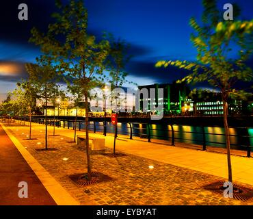 Dublin, Co Dublin, Ireland; Custom House And International Financial Services Centre Next To The River Liffey - Stock Photo