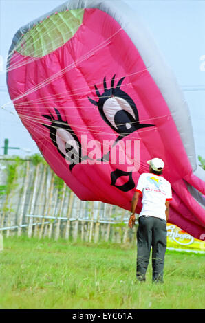 Man in front of human-figured balloon kite (lighter-than-air, with kitewing all balloon).