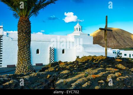 Los Dolores chapel. Mancha Blanca, Tinajo. Lanzarote, Canary Islands, Spain, Europe. - Stock Photo