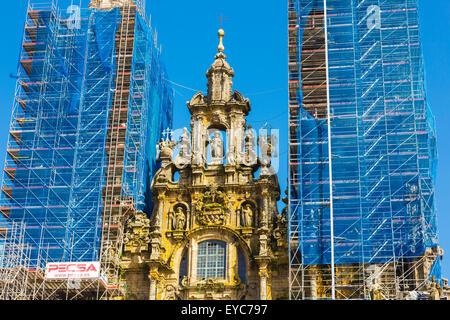 Cathedral facade seen from the Praza do Obradoiro. Santiago de Compostela. La Coruña, Galicia, Spain, Europe. - Stock Photo