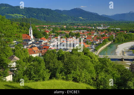 View from the Calvary, Bad Tölz with Isar, Upper Bavaria, Bavaria, Germany - Stock Photo