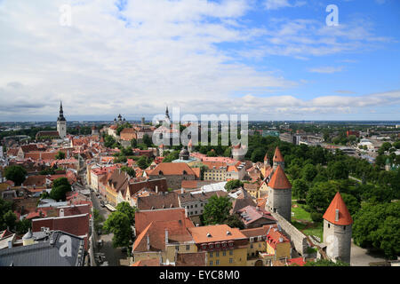 Upper Town with Alexander Nevsky Cathedral or Aleksander Nevski Katedraal and Toomkirik cathedral, Lower Town with - Stock Photo