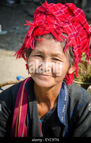 Smiling Shan Lady at Market, Lake Inle, Myanmar - Stock Photo