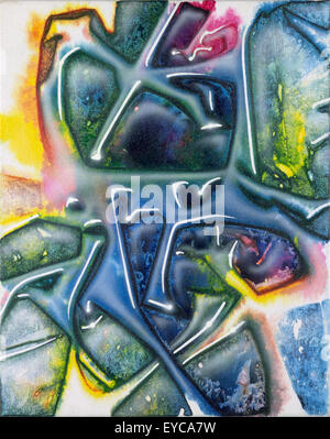 picture painted by me named Fluidum. It shows abstract multicolored wrinkled and liquid ambiance - Stock Photo