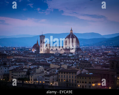 Florence Cathedral at night. Florence, Italy. - Stock Photo