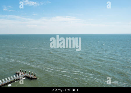 Den Oever, Netherlands, view from the monument on the Afsluitdijk - Stock Photo