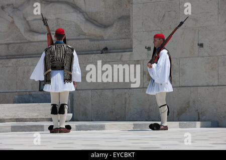 Tsoliades standing still, during change of the sentry stand/ guards at the Unknown soldier monument, Syntagma, Greece. - Stock Photo