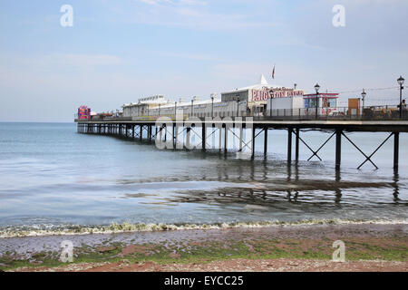 paignton pier on the south devon coast - Stock Photo