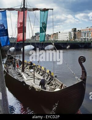 Dublin - Events, Viking Boat, On The River Liffey - Stock Photo