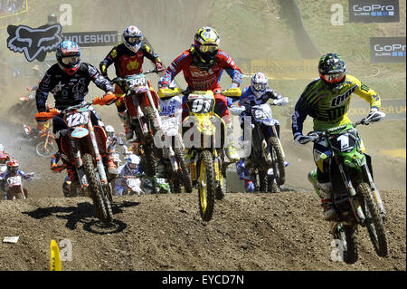 Loket, Czech Republic. 26th July, 2015. Motocross FIM world championship race in MX2 category at motocross areal - Stock Photo