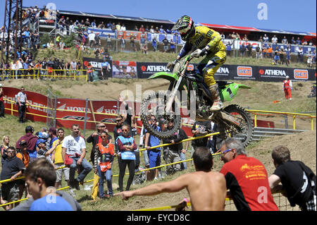 Loket, Czech Republic. 26th July, 2015. Jordi Tixier from France competes during Motocross FIM world championship - Stock Photo