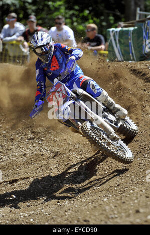 Loket, Czech Republic. 26th July, 2015. Romain Febvre from France competes during Motocross FIM world championship - Stock Photo