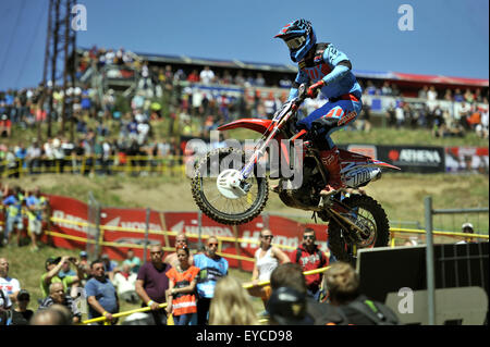 Loket, Czech Republic. 26th July, 2015. Evgeny Bobryshev from Russia competes during Motocross FIM world championship - Stock Photo