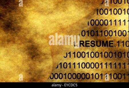 Resume concept on grunge background - Stock Photo