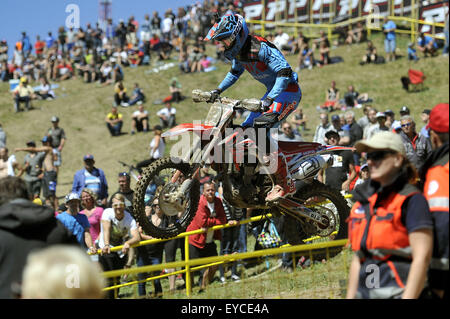 Loket, Czech Republic. 26th July, 2015. Gautier Paulin from France competes during Motocross FIM world championship - Stock Photo