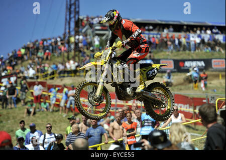 Loket, Czech Republic. 26th July, 2015. Clement Desalle from Belgium competes during Motocross FIM world championship - Stock Photo
