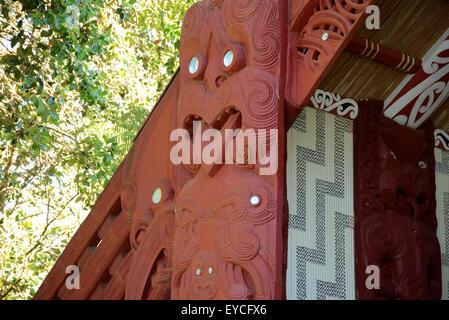 Treaty of Waitangi signed in the Bay of Islands in New Zealand. Toi whakairo (art carving) or just whakairo is a - Stock Photo