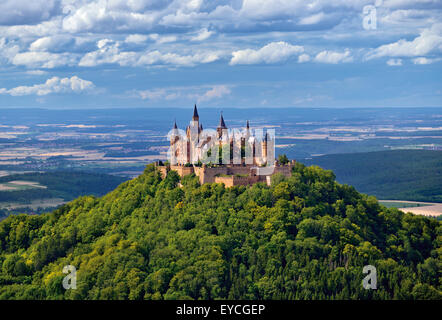 Germany, Baden-Württemberg: View to mystic Castle Hohenzollern - Stock Photo