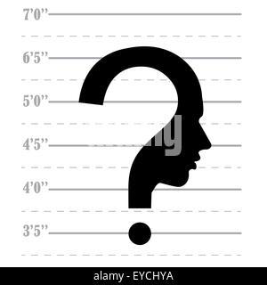 Mugshot question mark human head symbol, vector - Stock Photo