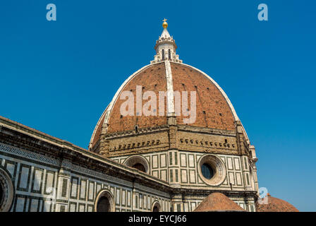 Florence Cathedral or Duomo dome designed by Flippo Brunelleschi. Florence, Italy. - Stock Photo