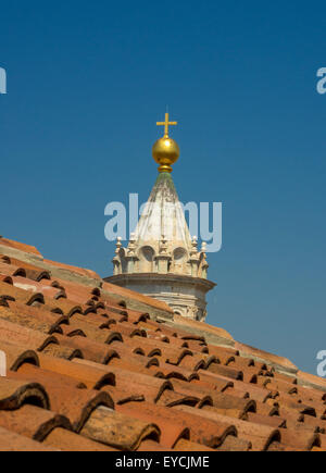 Bronze orb on top of the dome lantern - Stock Photo