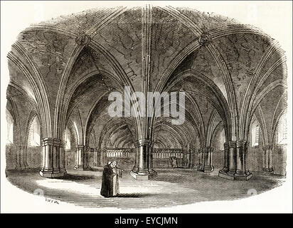 Underground church of St Faith's begun in 1256 below the Old St Paul's Cathedral. Victorian woodcut engraving circa - Stock Photo