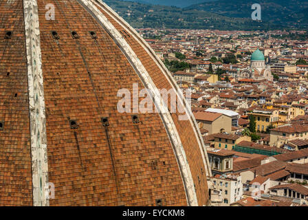 Florence Cathedral dome designed by Flippo Brunelleschi. Florence, Italy. With Great Synagogue of Florence in Distance - Stock Photo