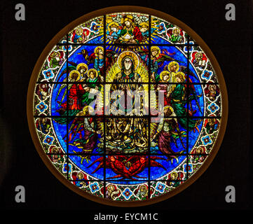 Stained glass window in the Duomo in Milan Italy Stock