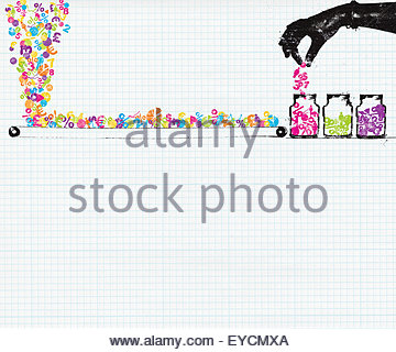 Hand sorting chaotic finance data from conveyor belt into storage jars - Stock Photo