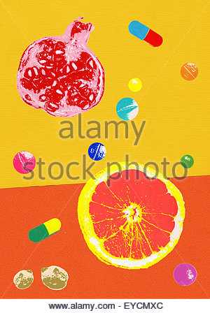 Natural healthy food contrasting with pills and nutritional supplements - Stock Photo