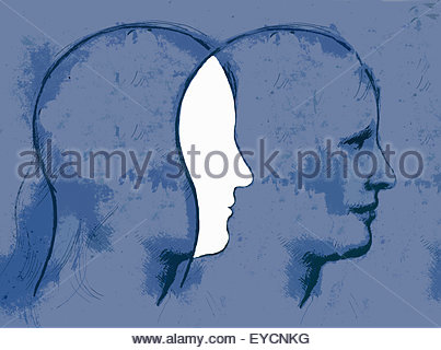 Overlapping profiles of man's head - Stock Photo