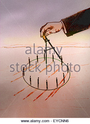 Businessman's hand drawing circle with compass around business people - Stock Photo