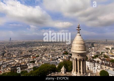 Panoramic view from Sacré-Cœur (Sacre Coer), Basilica across Paris, France - Stock Photo