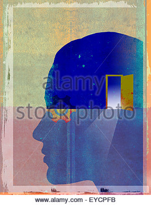 Open door and cog inside of man's head - Stock Photo